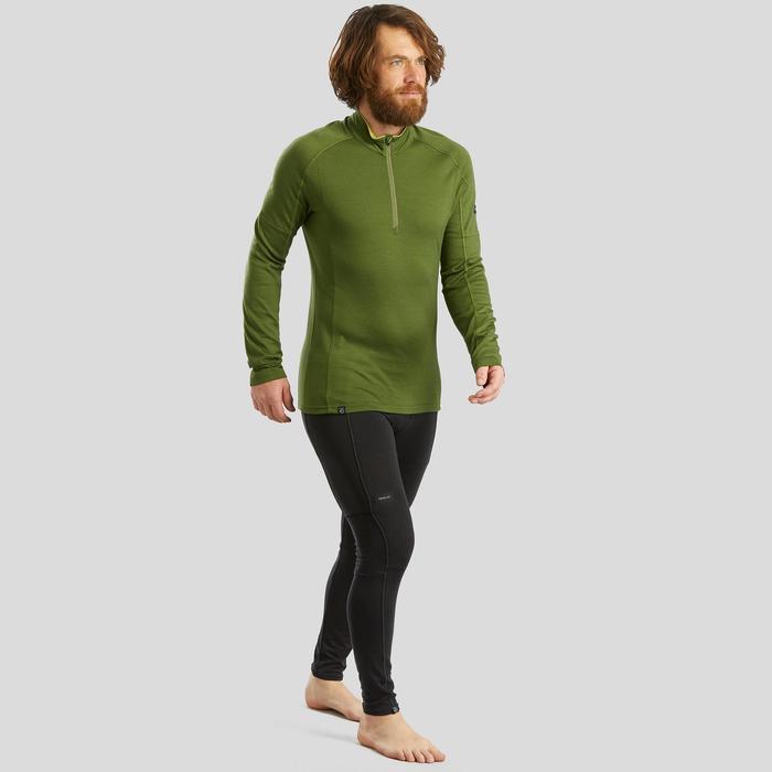 T-shirt mérinos manches longues de trek montagne - TREK 500 ZIP kaki homme