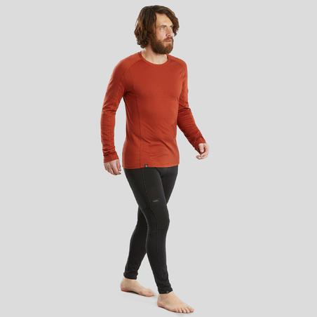 T-shirt mérinos randonnée montagne RANDO 500 manches longues homme orange
