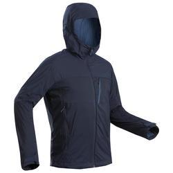 Men's Mountain Trekking Softshell Wind Warm Jacket - TREK 900 WINDWARM - Blue
