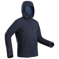 Men's Warm Mountain Trekking Windbreaker TREK 900 WINDWARM - Navy