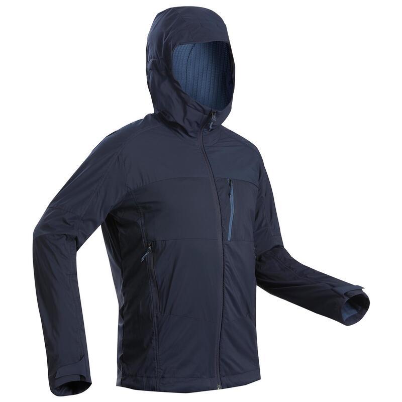 Pánská turistická softshellová bunda TREK 900 WINDWARM modrá