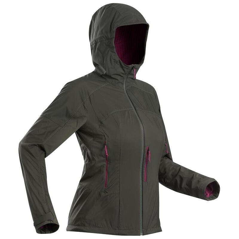 Dámská turistická větruodolná softshellová bunda Trek 900 khaki