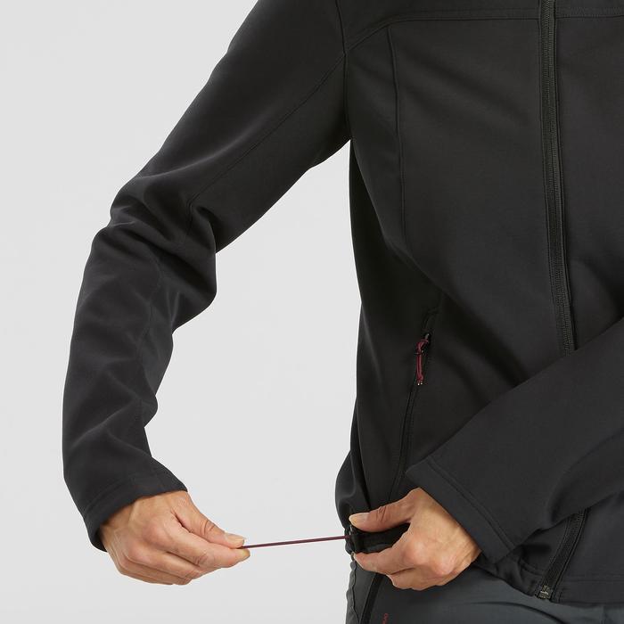 Veste softshell coupe vent chaude de trek montagne - TREK100 noire femme
