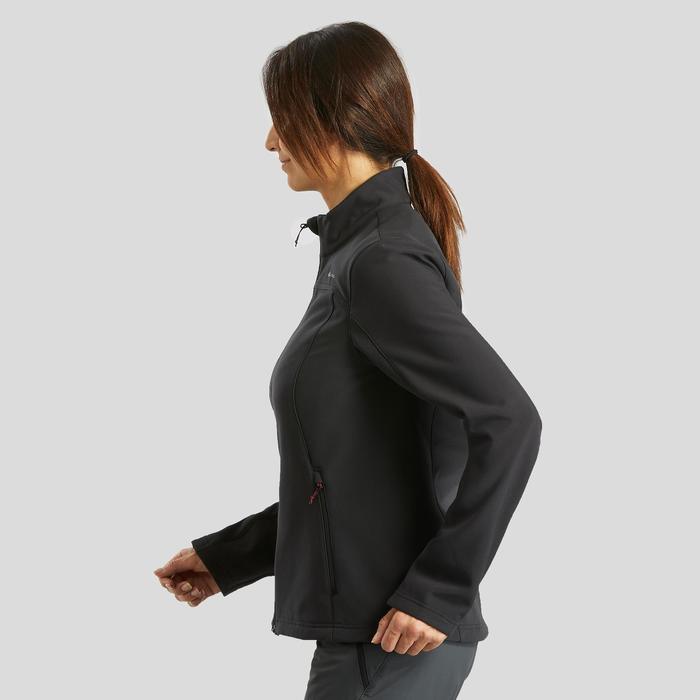 Warme winddichte softshelljas voor bergtrekking dames Trek 100 Windwarm zwart