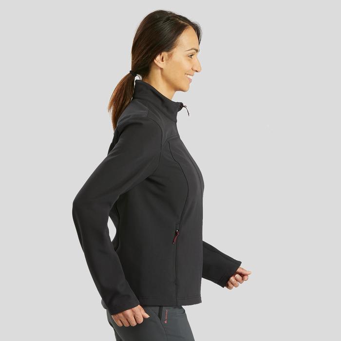 Warme winddichte softshelljas voor bergtrekking dames Trek 100 zwart