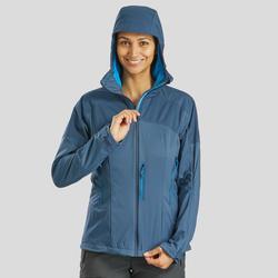 Winddichte softshelljas voor bergtrekking dames Trek 900 grijsblauw