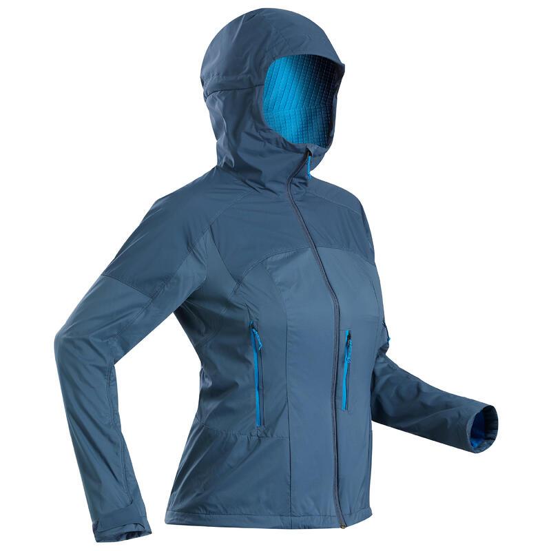 Chaqueta softshell cortaviento trekking montaña TREK 900 azul pizarra mujer