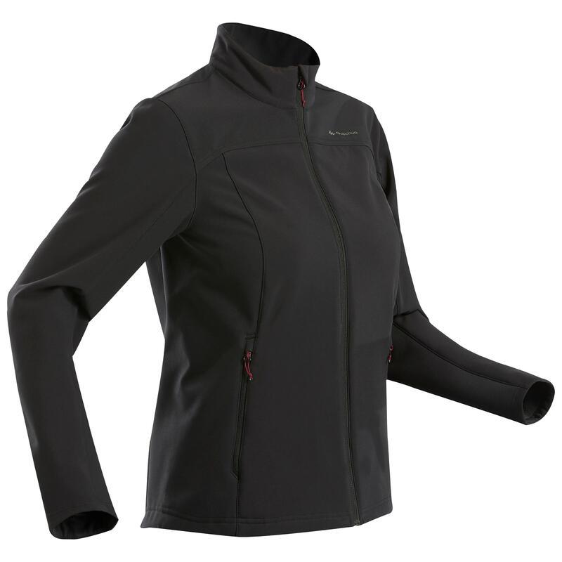 W Mountain Trekking Warm Softshell Windproof Jacket Trek 100 Windwarm - Black