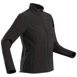 Softshell jas voor bergtrekking dames Trek 100 Windwarm zwart
