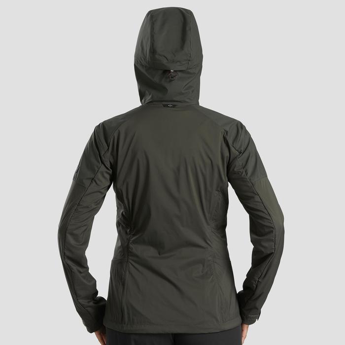 Veste softshell coupe vent de trek montagne - TREK 900 kaki femme