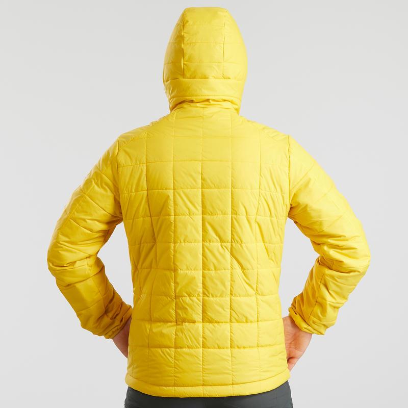 Men's hooded mountain trekking padded jacket TREK 100 - Yellow
