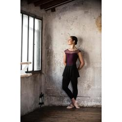 Balletpakje met korte mouwen voor dames pruimenpaars twee stoffen