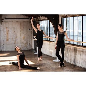 Balletpakje met korte mouwen voor dames zwart twee stoffen