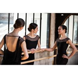 Justaucorps danse classique noir manches courtes bi-matière femme