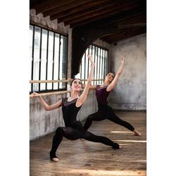 Justaucorps de danse classique manches courtes bi-matière prune