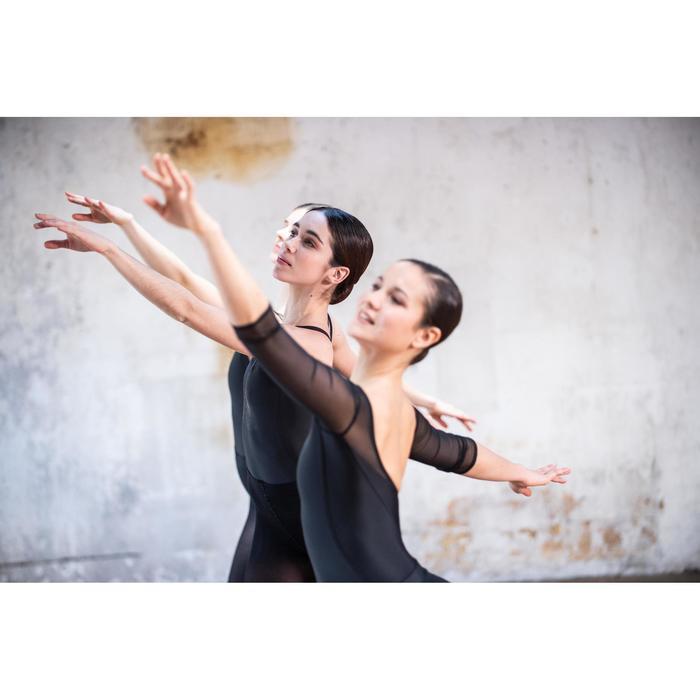 Balletpakje met lange mouwen voor dames twee stoffen zwart