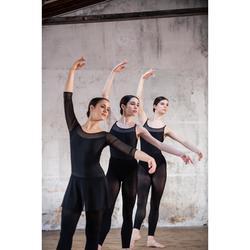 Justaucorps danse classique noir manches longues bi-matière femme