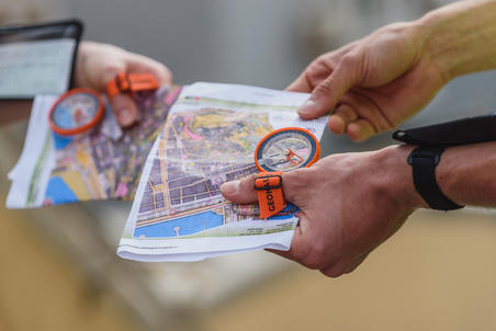 Boussole pouce gauche pour course d'orientation Racer500 orange