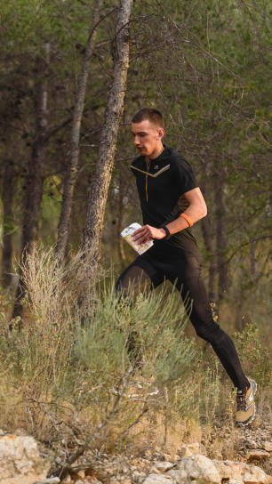 Man runs in the forest