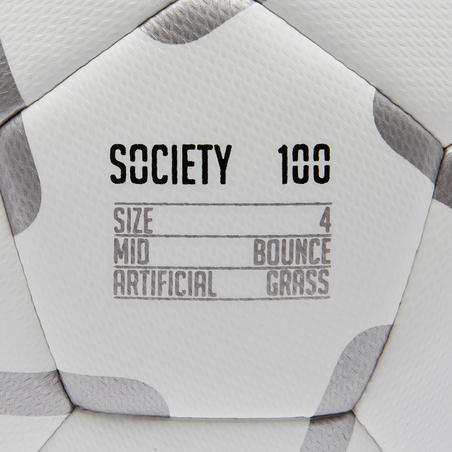 Society 100 5-A-Side Football Size 4 - White/Grey
