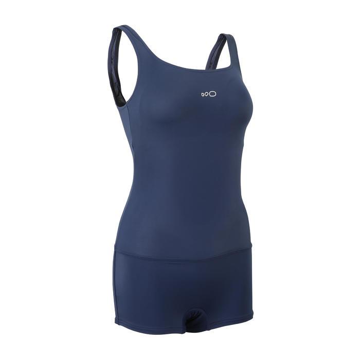 女款短版連身泳裝Heva-海軍藍