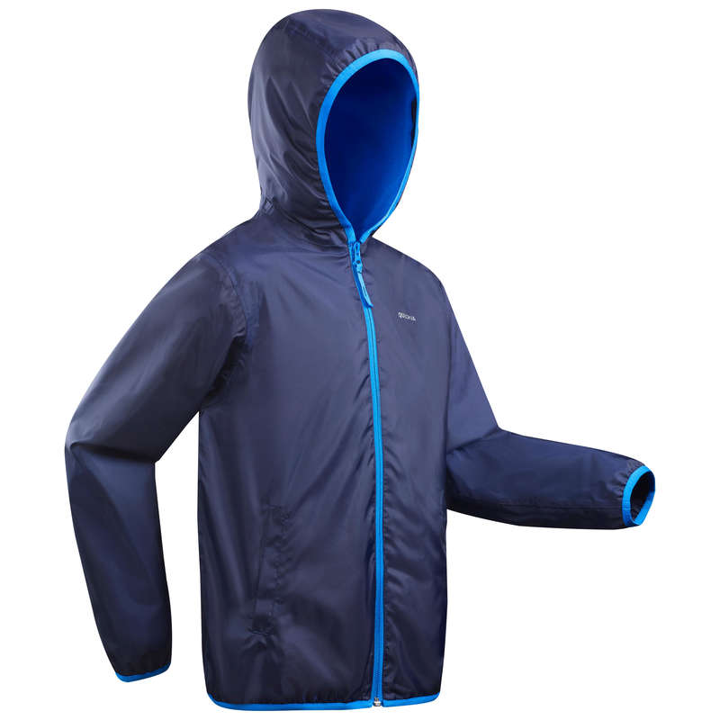 BOY SNOW HIKING JACKETS & WARM PANTS Hiking - Raincut Boy's Waterproof Jacket - Navy QUECHUA - Hiking Clothes
