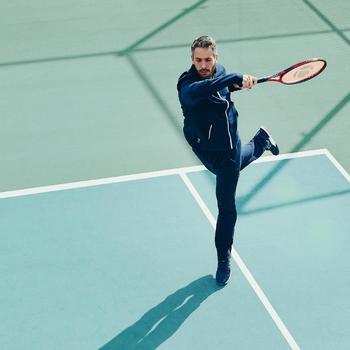 保暖網球長褲TPA500 - 海藍/白色