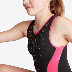Gymnastikanzug Turnanzug ärmellos 500 schwarz/rosa
