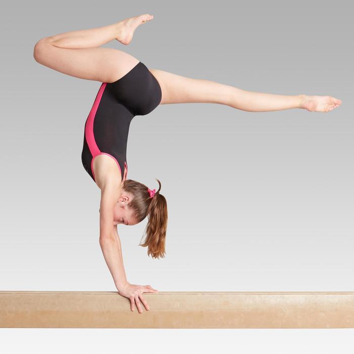Justaucorps sans manche noir et rose 500 Gymnastique Artistique Féminine