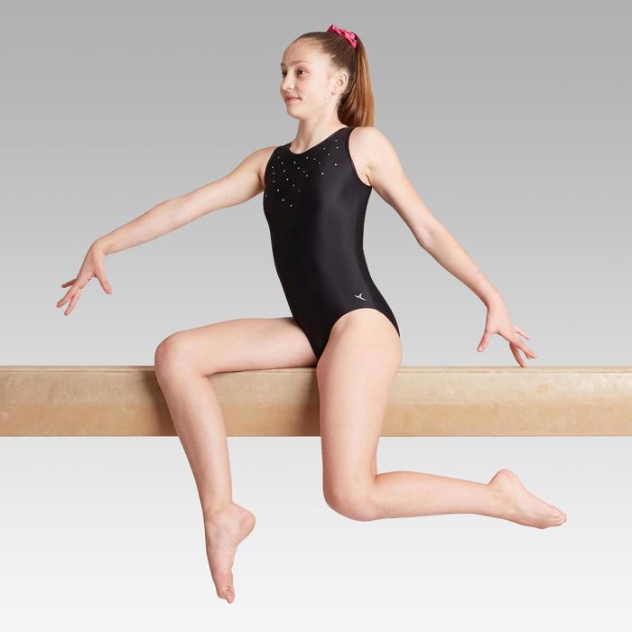Justaucorps sans manche noir sequins Gymnastique Artistique Féminine