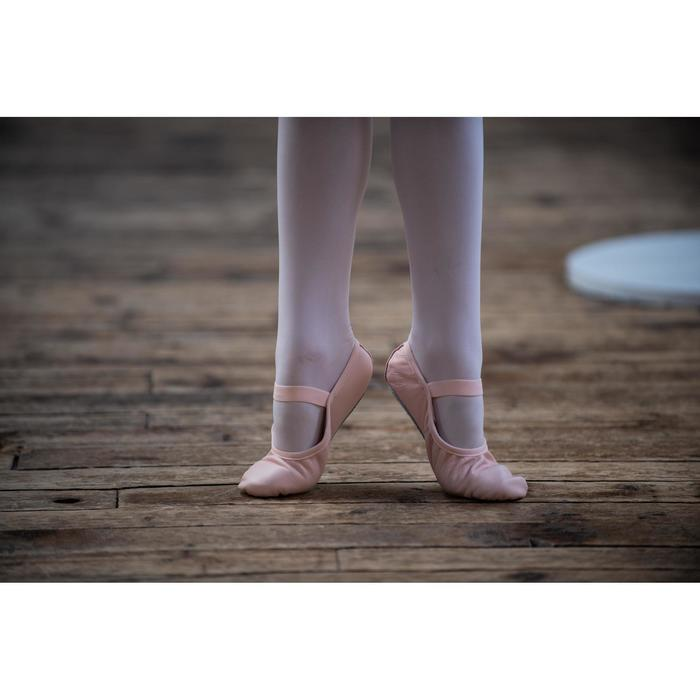 Balletschoenen leren demi-pointes met hele zool roze zonder koordje maat 25-40