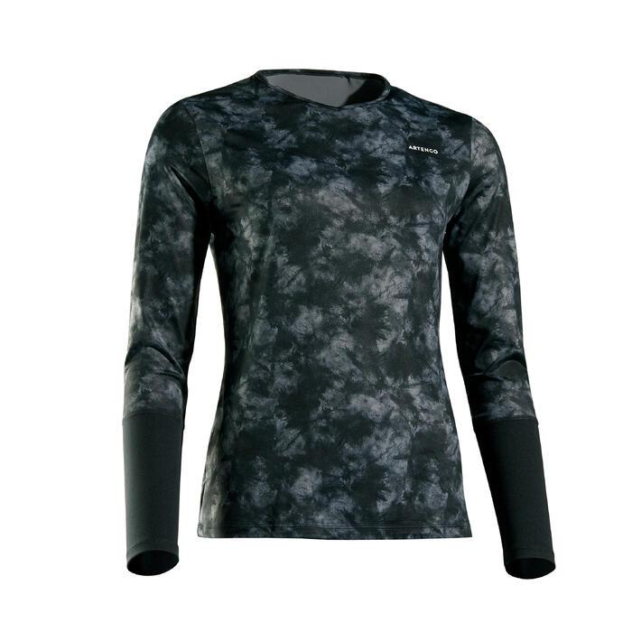 女款網球長袖T恤-黑色圖案款