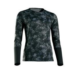 Tennisshirt met lange mouwen voor dames Essentiel zwart met opdruk