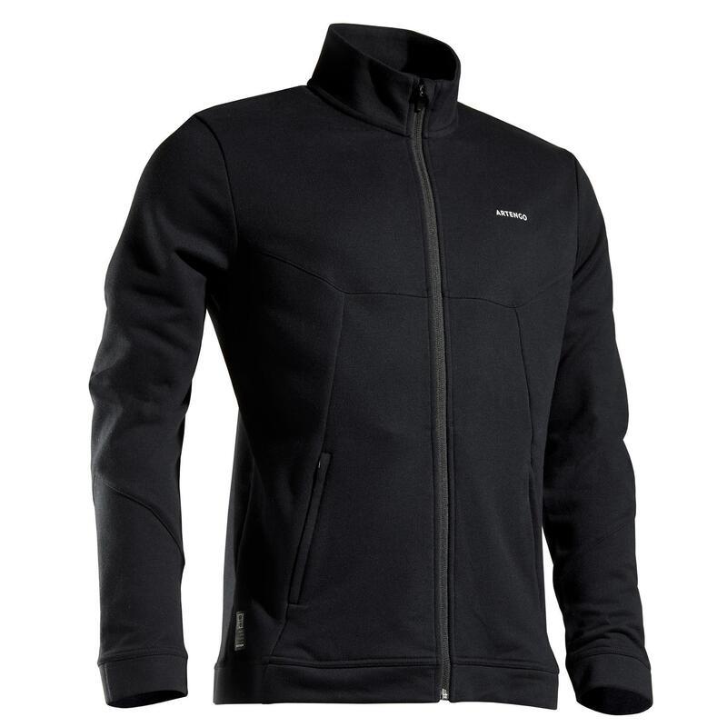 Bluză de trening Călduroasă Tenis TJA500 Negru Bărbați