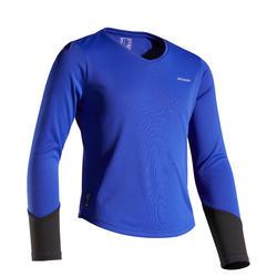 女孩款保暖長袖T恤500 - 靛藍