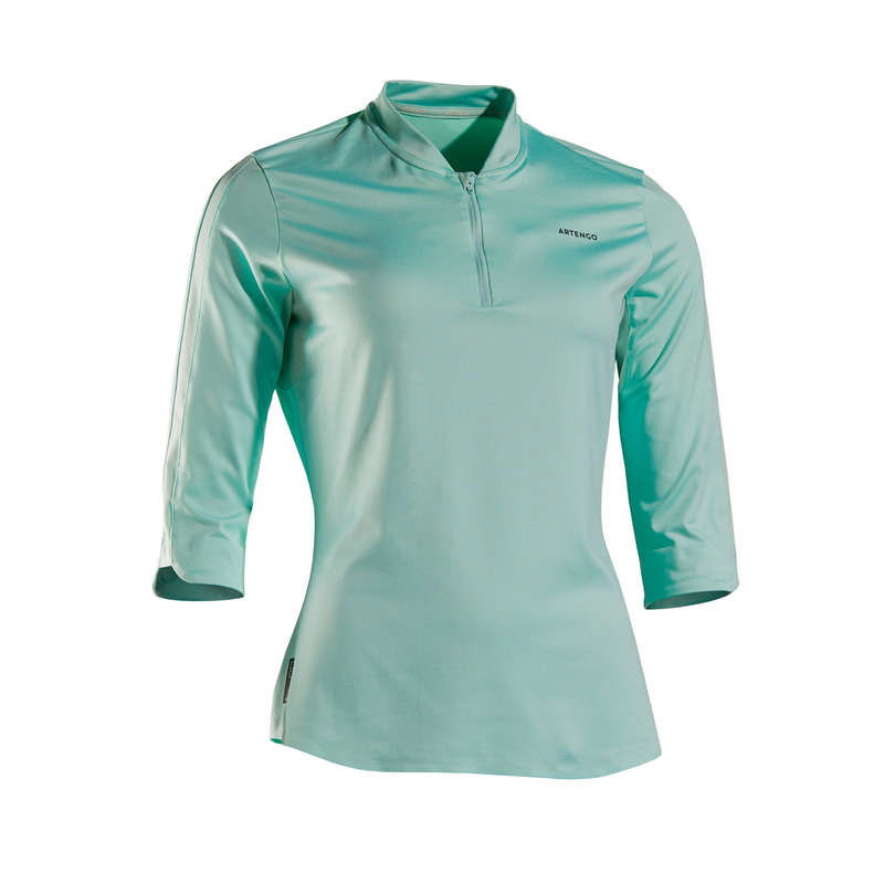 WOMAN COOL APPAREL Tennis - Dry 900 3/4 T-Shirt - Mint ARTENGO - Tennis Clothes