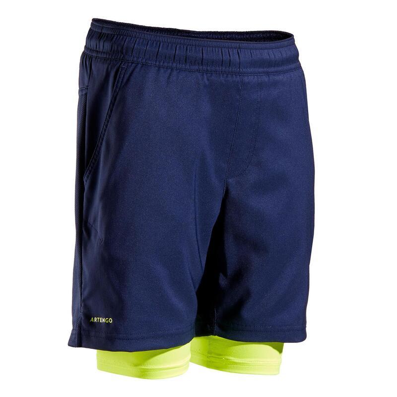 Thermoshort voor tennis jongens TH 500 marineblauw/geel