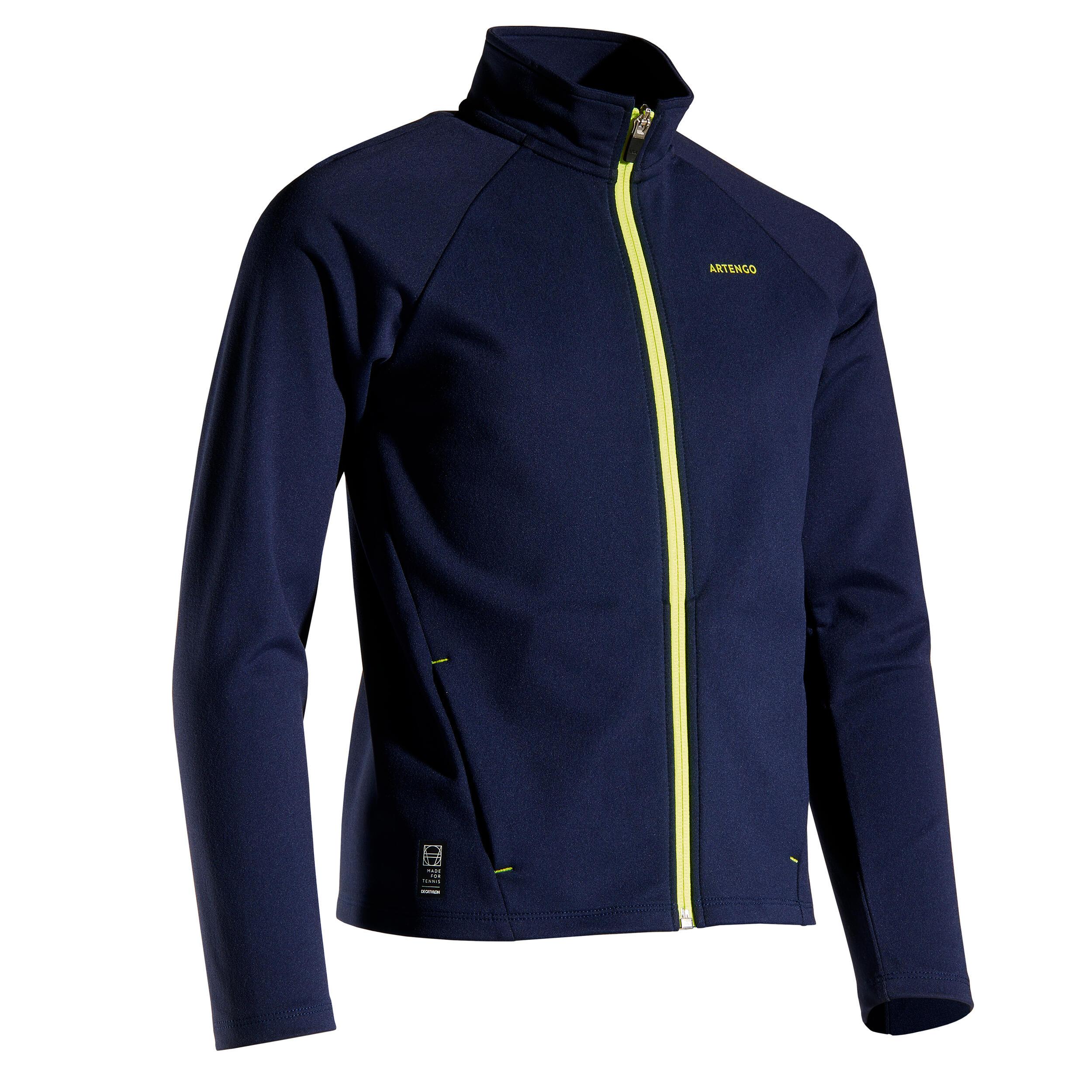 Trainingsjacke 500 warm Jungen blau/schwarz