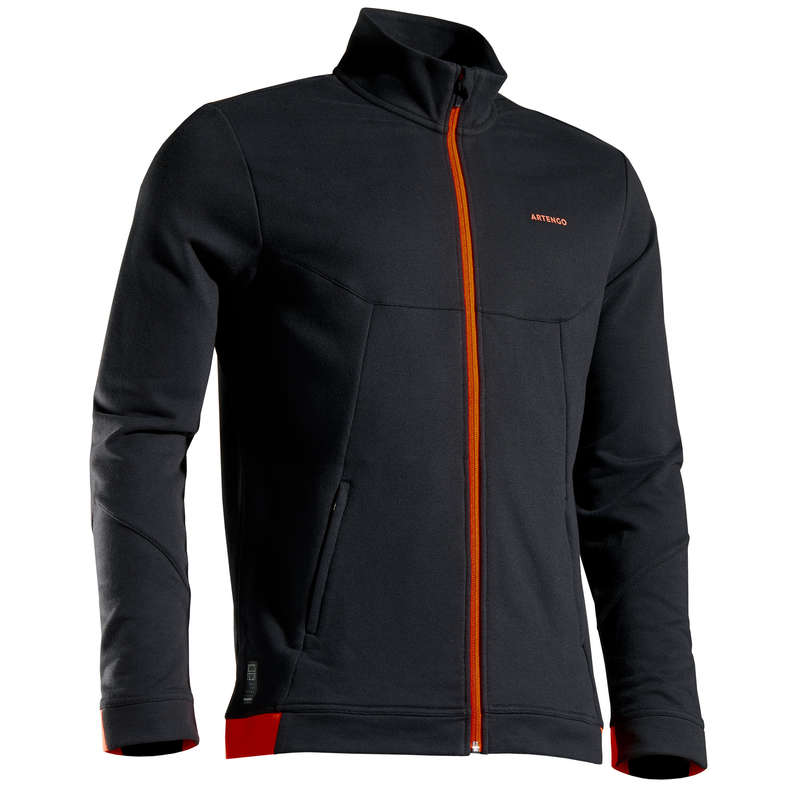MEN COOL APPAREL Tennis - TJA500 Thermal - Black/Orange ARTENGO - Tennis Clothes