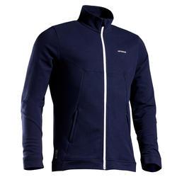 保暖網球外套TJA500 - 海藍/白色