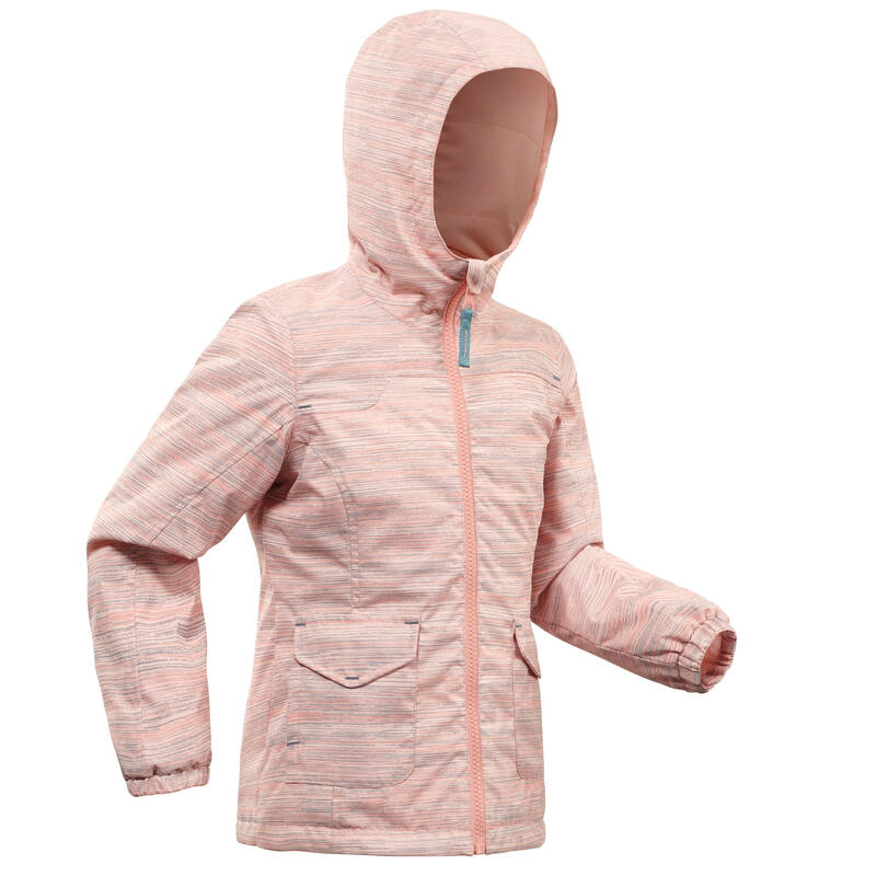 DÍVČÍ BUNDY A KALHOTY NA ZIMNÍ TURISTIKU Turistika - BUNDA SH 100 WARM RŮŽOVÁ QUECHUA - Turistické oblečení