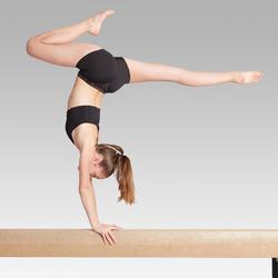 Sujetador-top de gimnasia artística y rítmica femenina negro con brillo