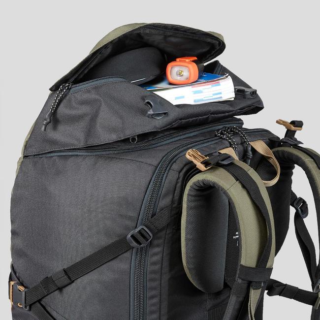 Trekking Travel Backpack 60 Litres _PIPE_ TRAVEL 100 Khaki