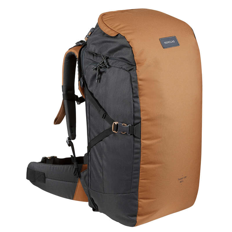 BACKPACKS 40L TO 70L TRAVEL TREKKING Trekking - BACKPACK TRAVEL 100 60 L CAMEL FORCLAZ - Trekking