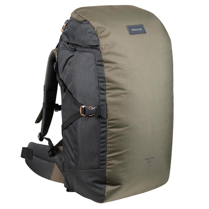Trekking Travel Backpack 60 Litres | TRAVEL 100 - Khaki