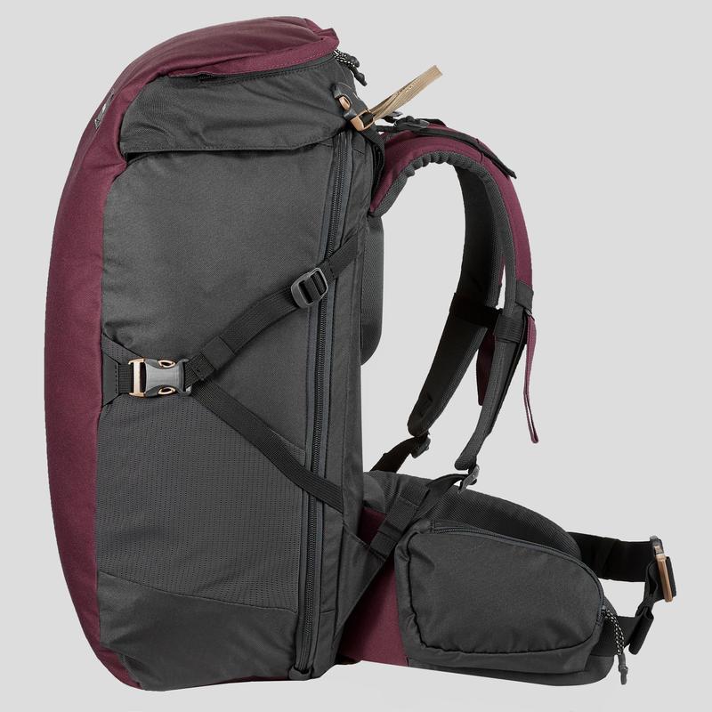 Trekking Backpack 40 Litres _PIPE_ TRAVEL 100 - Maroon