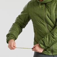 Men's Hooded Mountain Trekking Padded Jacket TREK 100 - Green