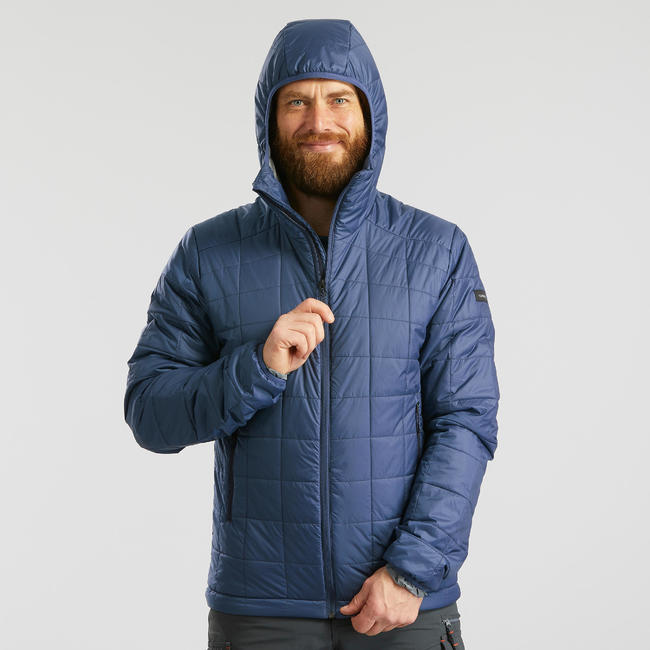 Men's Mountain Trekking Padded Jacket Trek 100 with Hood - blue
