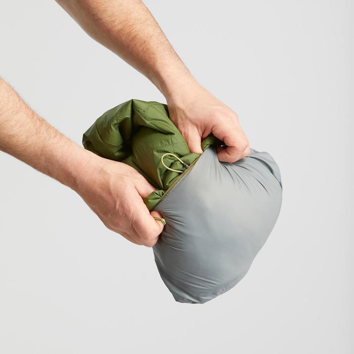 Gewatteerde jas met capuchon voor bergtrekking heren - Trek 100 groen