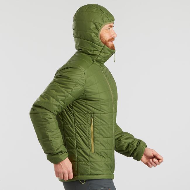 Men's Mountain Trekking Padded Jacket - TREK 100 WITH HOOD - Green